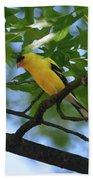 Goldfinch In Oak Tree Beach Towel
