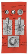 Golf Ball Patent Drawing Red Beach Towel