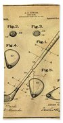 Golf Club Patent 1910 Sepia Beach Towel