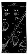 Golf Club Patent Drawing Black Beach Towel