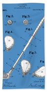 Golf Club Patent Drawing Blue Beach Towel