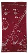 Golf Club Patent Drawing Dark Red Beach Towel