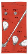 Golf Club Patent Drawing Red Beach Towel