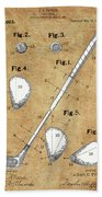 Golf Club Patent Drawing Vintage Beach Towel
