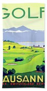 Golf, Lausanne, Switzerland, Travel Poster Beach Towel