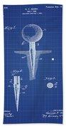Golf Tee Patent 1899 Blueprint Beach Towel
