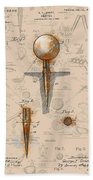 Golf Tee Patent Drawing Sepia Beach Towel