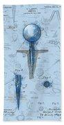 Golf Tee Patent Drawing Watercolor Beach Towel