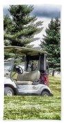 Golfing Before The Rain Golf Cart 03 Beach Towel