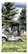 Golfing Before The Rain Golf Cart 03 Beach Sheet