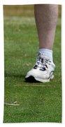 Golfing Driving The Ball In Flight Beach Sheet