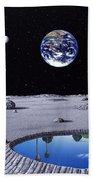 Golfing On The Moon Beach Towel