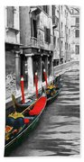 Gondolas On Venice. Black And White Pictures With Colour Detail  Beach Towel