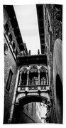 Gothic Bridge In The Gothic Quarter Of Barcelona Beach Towel
