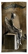 Gothic Surreal Angel With Gargoyles And Ravens  Beach Towel
