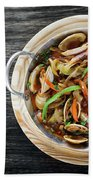 Gourmet Clam And Vegetable Seafood Stew In Spicy Tomato Sauce Beach Towel