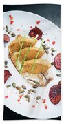 Gourmet Fish Fillet With Chickpea Curry Puree Meal Beach Towel