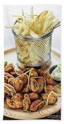 Gourmet Fried Octopus Calamari Style Set Meal With Fries Beach Towel