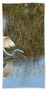 Graceful Great Egret Beach Towel