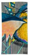 Graffiti Art Of A Colorful Bird Along Street IIn Hilly Valparaiso-chile Beach Towel