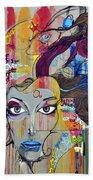 Graffiti Woman Face Beach Sheet