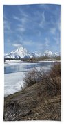Grand Tetons From Oxbow Bend At A Distance Beach Towel