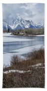 Grand Tetons From Oxbow Bend Beach Towel