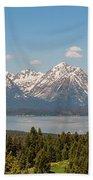 Grand Tetons Over Jackson Lake Panorama Beach Towel by Brian Harig