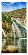 Granite Mountain Waterfall - Vintage Version Beach Towel