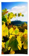 Grape Leaves And The Sky Beach Towel by Elaine Plesser