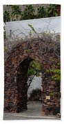 Grapevine Covered Stone Garden Door Beach Sheet