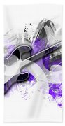 Graphic Art Guitar - Purple Beach Towel