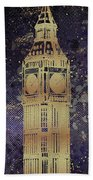 Graphic Art London Big Ben - Ultraviolet And Golden Beach Towel