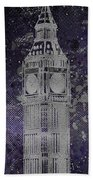Graphic Art London Big Ben - Ultraviolet And Silver Beach Towel