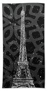 Graphic Art Paris Eiffel Tower - Silver And Grey Beach Sheet