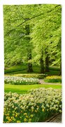 Grass Lawn With Daffodils  Beach Towel