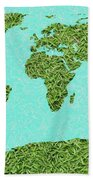 Grass World Map Beach Towel