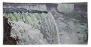 Gray And Cold At American Falls Beach Towel
