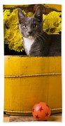 Gray Kitten In Yellow Bucket Beach Towel