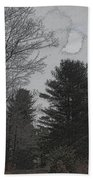 Gray Skies Over The Pines Beach Towel