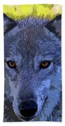 Gray Wolf Portrait Beach Sheet