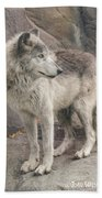 Gray Wolf Profile Beach Towel