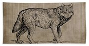 Gray Wolf Timber Wolf Western Wolf Woods Texture Beach Towel