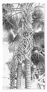 Grayscale Palm Trees Pen And Ink Beach Towel