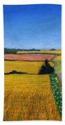 Great Bedwyn Wheat Fields Painting Beach Towel