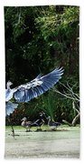 Great Blue Heron And Wood Ducks Beach Towel