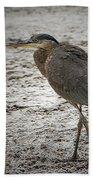 Great Blue Heron In The Snow Beach Towel
