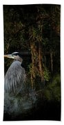 Great Blue Heron On The River Beach Towel