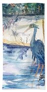 Great Blue Heron Square Cropped  Beach Sheet