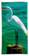 Great Egret Emerald Sea Beach Towel